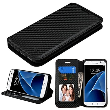 Insten Folio Leather Fabric Cover Case w/stand/card holder/Photo Display For Samsung Galaxy S7 - Black