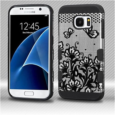 Insten Lace Flowers Hard Rubber Coated Silicone Cover Case For Samsung Galaxy S7 - Black