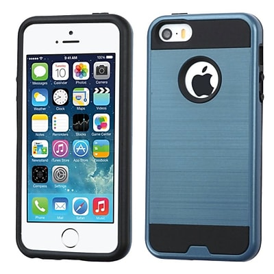Insten Hard Dual Layer Rubber Coated Silicone Case For Apple iPhone 5/5S/SE - Blue/Black