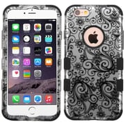 Insten Tuff Four-leaf Clover Hard Hybrid Rubber Silicone Case For Apple iPhone 6 Plus/6s Plus - Black