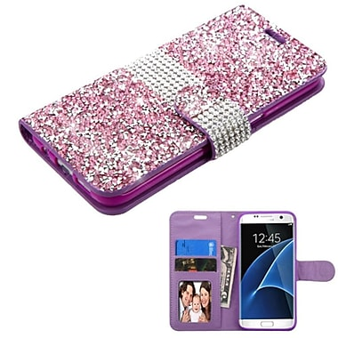 Insten Leather Wallet Diamond Case with card slot For Samsung Galaxy S7 Edge - Purple/Silver