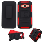 Insten Hard Dual Layer Plastic Silicone Cover Case w/Holster For Samsung Galaxy Amp Prime / J3 (2016) - Black/Red