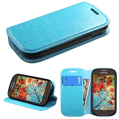 Insten Folio Leather Fabric Cover Case With Stand/Card Holder For Samsung Galaxy Light, Blue (2011325)