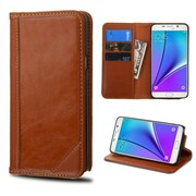Insten Genuine leather Fabric Cover Case w/stand/card slot For Samsung Galaxy Note 5, Brown by