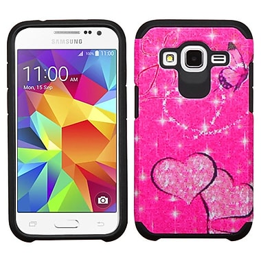 Insten Butterfly Glittering Hard Dual Layer Rubber Coated Cover Case For Samsung Galaxy Core Prime - Hot Pink/Black