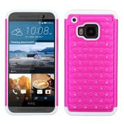 Insten Hard Dual Layer Rubberized Silicone Case w/Diamond For HTC One M9 - Hot Pink/White