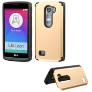 Insten Hard Rubber Coated Cover Case w/card slot For LG Leon/Tribute 2 - Gold
