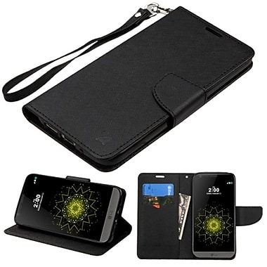 Insten Book-Style Leather Fabric Cover Case Lanyard With Stand And Card Holder For LG G5, Black (2234595)