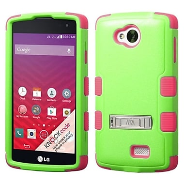 Insten Hard Dual Layer Silicone Case w/stand For LG Optimus F60 - Green/Hot Pink