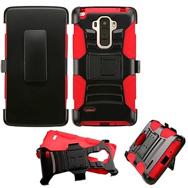 Insten Hard Dual Layer Plastic Silicone Case w/Holster For LG G Stylo - Black/Red