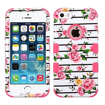 Insten Tuff Roses Hard Dual Layer Silicone Cover Case For Apple iPhone SE / 5 / 5S - Pink/White
