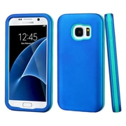 Insten Verge Hard Dual Layer Rubberized Silicone Cover Case For Samsung Galaxy S7 - Blue