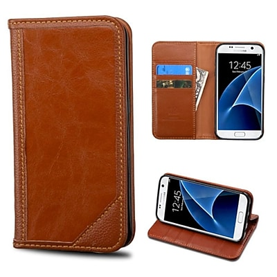 Insten Folio Leather Wallet Case with card slot For Samsung Galaxy S7 - Brown