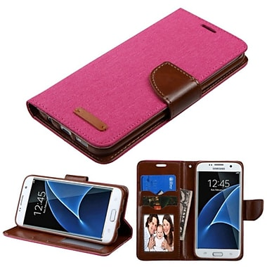 Insten Folio Leather Fabric Cover Case w/stand/card holder/Photo Display For Samsung Galaxy S7 Edge - Pink