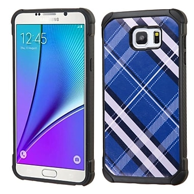 Insten Diagonal Plaid Hard Dual Layer Rubber Coated Silicone Cover Case For Samsung Galaxy Note 5 - Blue/White