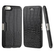 Insten Crocodile Folio Genuine Leather Case w/card holder For Apple iPhone 6 Plus/6s Plus - Black