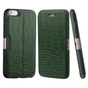 Insten Crocodile Flip Genuine Leather Cover Case w/card slot For Apple iPhone 6 Plus/6s Plus - Green/Black