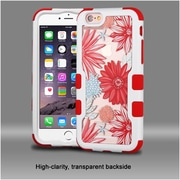 Insten Spring Daisies Hard Hybrid Silicone Cover Case For Apple iPhone 6s Plus / 6 Plus - Red/White