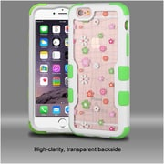 Insten Tiny Blossoms Hard Hybrid Rubber Silicone Cover Case For Apple iPhone 6s Plus / 6 Plus - Pink/White