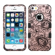 Insten Tuff Four leaf Clover Hard Hybrid Rubber Silicone Case For Apple iPhone SE 5S 5, Rose Gold/Black by