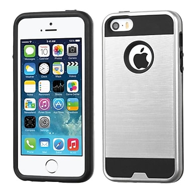 Insten Hard Dual Layer Rubber Coated Silicone Case For Apple iPhone 5/5S/SE, Silver/Black (2212071)