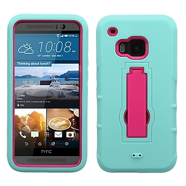 Insten Symbiosis Soft Hybrid Rugged Shockproof Rubber Hard Cover Case with Stand For HTC One M9 - Teal/Hot Pink