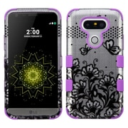 Insten Tuff Lace Flowers Hybrid Soft Hard Case Cover (3-Piece Style) for LG G5 - Black/Purple