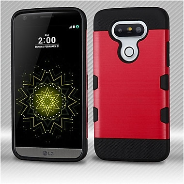 Insten TUFF Trooper Brushed Hybrid Soft Hard TPU Case For LG G5 - Red/Black