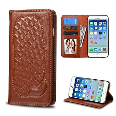 Insten Genuine leather Fabric Cover Case w/card holder/Photo Display For Apple iPhone 6/6s - Brown
