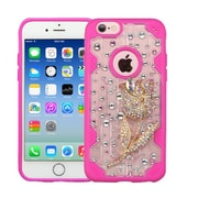 Insten Tulip Flower 3D Crystal Diamond Bling Diamante Hard Case Cover for iPhone 6s 6 - Clear/Hot Pink