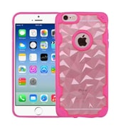 Insten Polygon Hard Rubber Silicone Cover Case For Apple iPhone 6/6s - Rose Gold/Hot Pink
