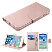Insten Book-Style Leather Fabric Case w/stand/card holder For Apple iPhone 6 / 6s - Rose Gold