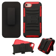 Insten Hard Hybrid Plastic Silicone Case w/Holster For Apple iPhone 7 - Black/Red