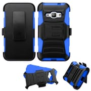 Insten Hybrid Plastic Silicone Case with Holster For Samsung Galaxy J1 (2016) - Black/Blue