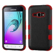 Insten Tuff Hard Hybrid Rubber Coated Silicone Case For Samsung Galaxy Amp 2 / J1 (2016), Black/Red by