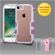 Insten Ivory White Frame+Transparent PC Back/Electric Purple TUFF Vivid Hybrid Case Cover for Apple iPhone 7