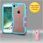 Insten Teal Green Frame+Transparent PC Back/Electric Pink TUFF Vivid Hybrid Case Cover for Apple iPhone 7