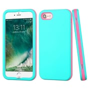 Insten Hybrid Soft Rubber Hard Plastic 3-Layer Case For Apple iPhone 7 - Teal/Pink
