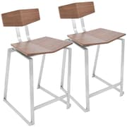 LumiSource Flight Contemporary Stainless Steel Counter Stool in Walnut Wood, Set of 2, (CS-FLIGHT WL2)
