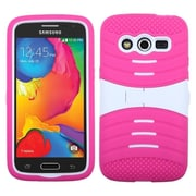 Insten Silicone Dual Layer Rubber Hard Case w/stand For Samsung Galaxy Avant - Hot Pink/White