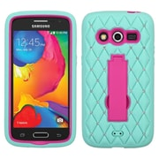 Insten Symbiosis Silicone Dual Layer Rubber Hard Case w/stand/Diamond For Samsung Galaxy Avant - Teal Green/Hot Pink