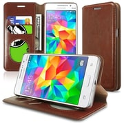 Insten Flip Leather Fabric Cover Case w/stand/card holder For Samsung Galaxy Grand Prime - Brown