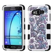 Insten Tuff European Flowers Hybrid 3-Layer Silicon Hard Case Cover For Samsung Galaxy On5 - Purple/White