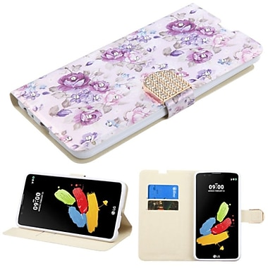 Insten Flowers Flip Leather Fabric Case w/stand/card holder/Diamond For LG G Stylo 2/Stylus 2 - Purple/White