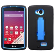 Insten Symbiosis Soft Dual Layer Rubber Hard Case w/stand For LG Optimus F60 - Black/Blue