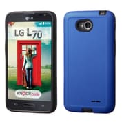 Insten Hard Hybrid Rubberized Silicone Case For LG Optimus Exceed 2 VS450PP Verizon/Optimus L70/Realm - Blue/Black