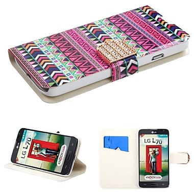 Insten Tribe Impression Flip Stand Leather Credit ID Card Slot Wallet Case For LG Optimus L70 Dual D325, Red (1926039)