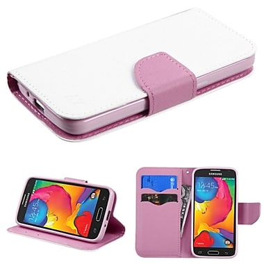 Insten Folio Leather Fabric Case With Stand/Card Slot For Samsung Galaxy Avant, White/Pink (2058272)