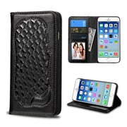 Insten Genuine leather Fabric Case w/card holder/Photo Display For Apple iPhone 6/6s - Black