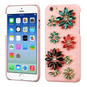 Insten Flowers Leather 3D Fabric Hard Cover Case w/Diamond For Apple iPhone 6 / 6s - Pink/Colorful